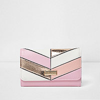 Girls metallic stripe large trifold purse