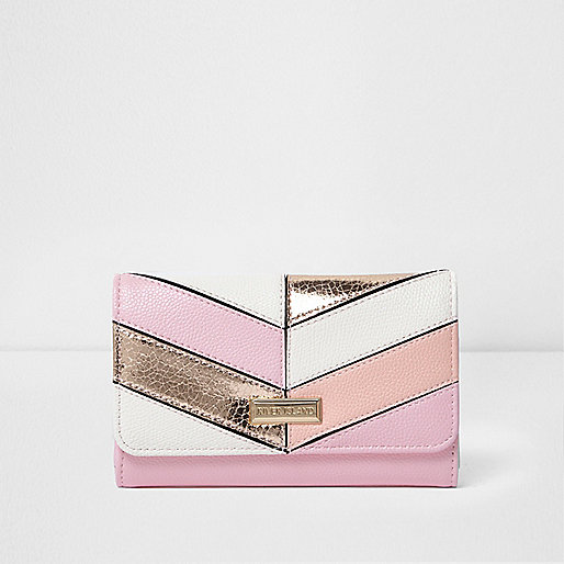 Girls metallic stripe large trifold purse