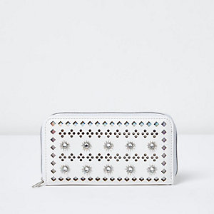 Girls white perforated zip top purse
