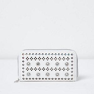 Witte portemonnee met perforaties rits voor meisjes