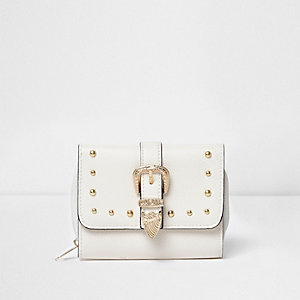 Girls white western buckle foldover purse