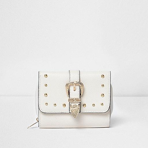Girls white western buckle foldover purse