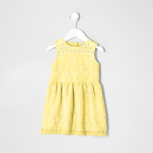 Mini girls yellow embroidered mesh dress