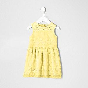 Robe en tulle jaune brodée mini fille