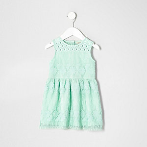Mini girls mint green embroidered mesh dress