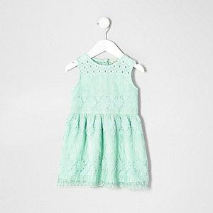 Robe en tulle vert menthe brodée mini fille