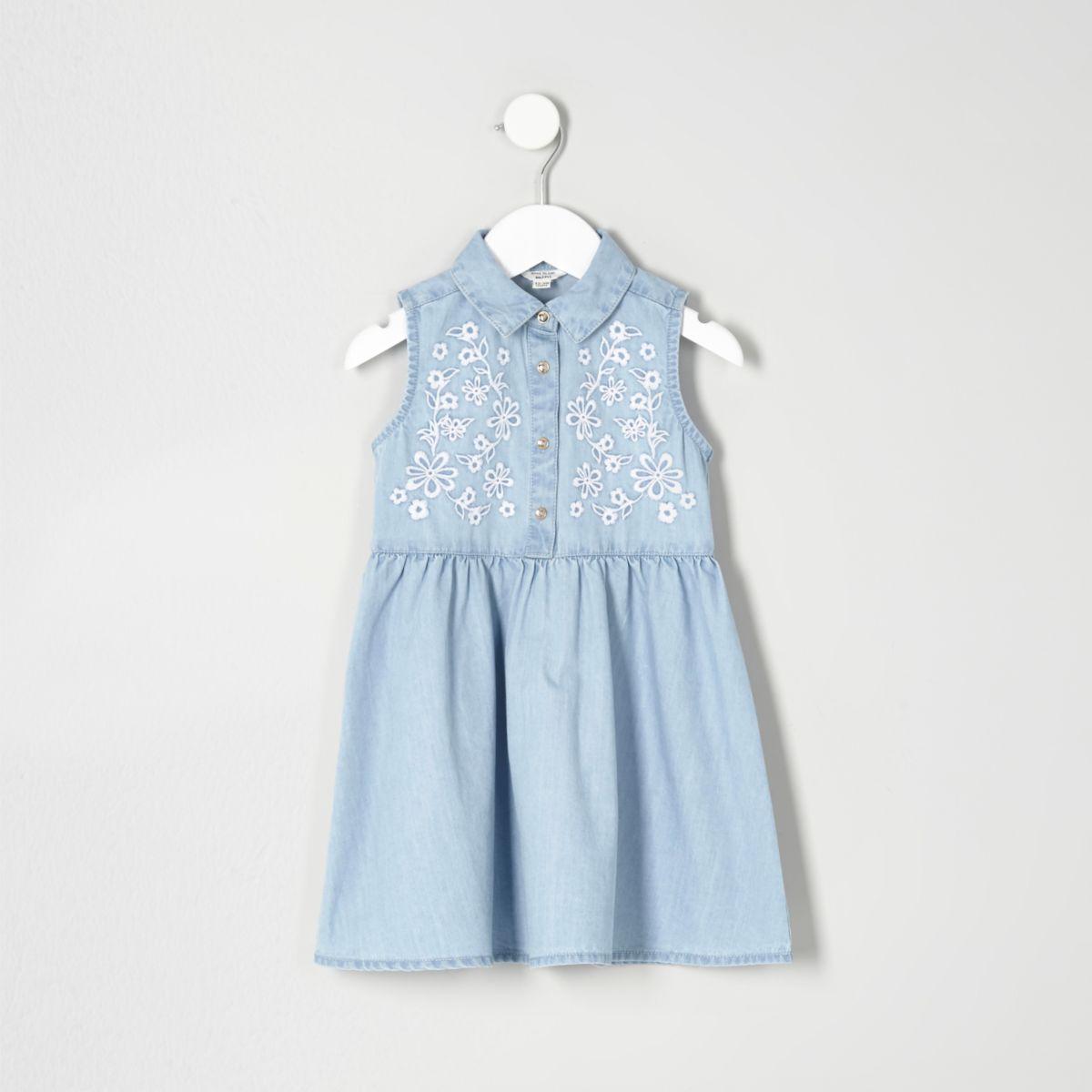 Mini girls blue embroidered denim dress