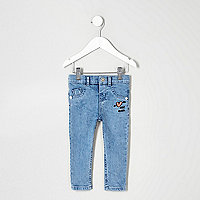 Mini girls blue 'heart breaker' skinny jeans