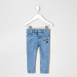 Mini - Blauwe skinny jeans met 'heart breaker'-print voor meisjes