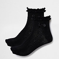 Girls black frill socks pack