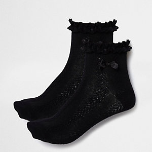 Set zwarte sokken met ruches voor meisjes