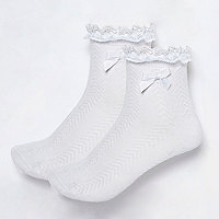 Girls white frill socks pack