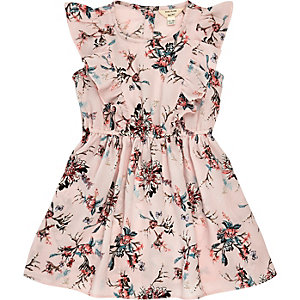 Mini girls pink floral ruffle dress