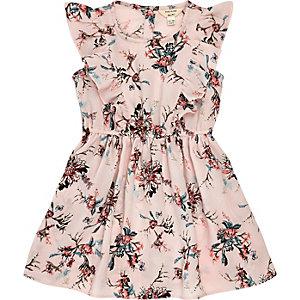 Robe à fleurs rose plissée mini fille
