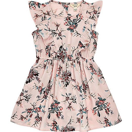 Mini girls pink floral ruffle dress