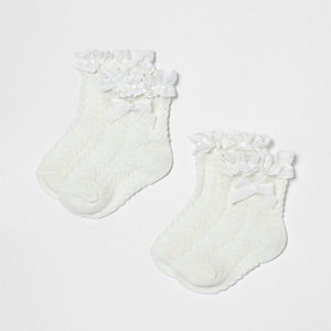 Mini girls cream frill bow socks multipack