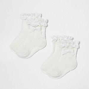 Mini - Multipack crème sokken met ruches en strik voor meisjes