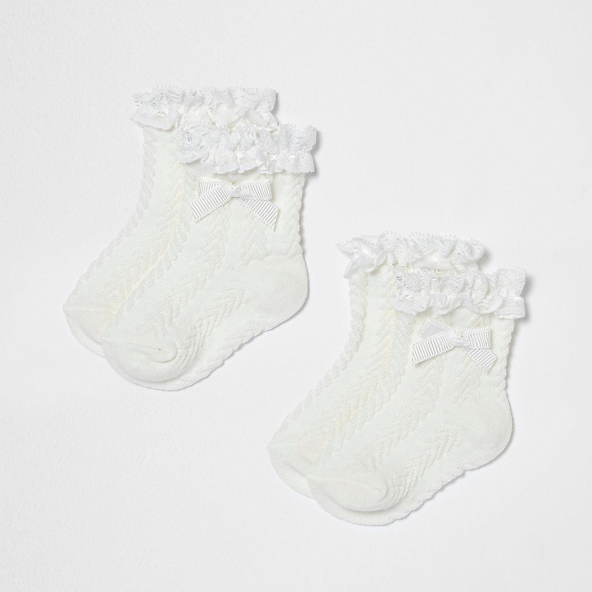 Mini girls cream frill bow socks multipack