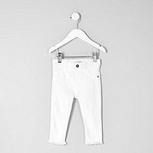Mini girls white cropped Molly skinny jeans