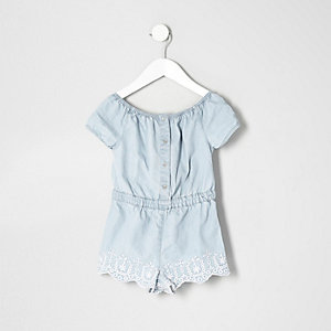 Mini girls embroidered bardot romper