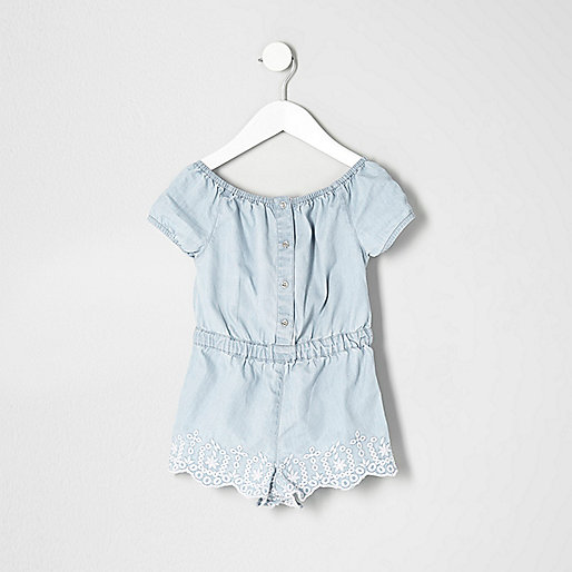 Mini girls embroidered bardot playsuit