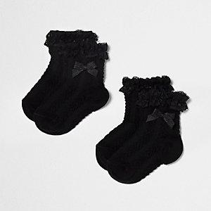 Mini girls black frill bow socks multipack