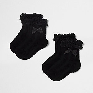 Mini girls black frill bow socks multipack