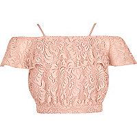 Girls pink lace bardot crop top