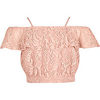 Crop top Bardot en dentelle rose pour fille