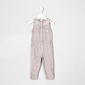Mini girls grey floral sleeveless jumpsuit