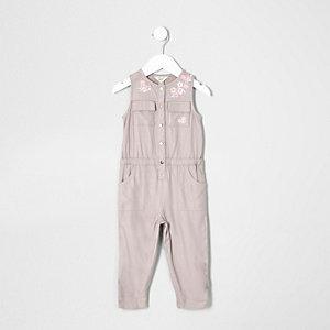 Mini - Grijze mouwloze jumpsuit met bloemenprint voor meisjes