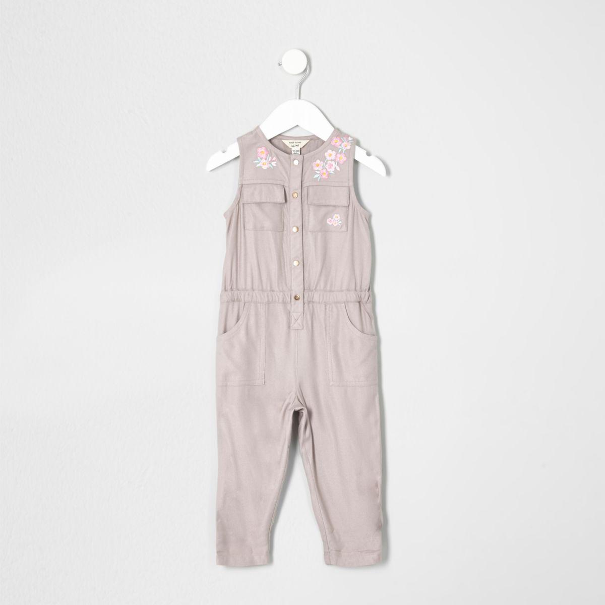 Mini girls grey floral sleeveless jumpsuit