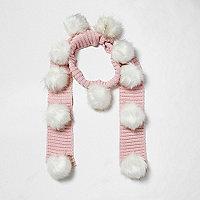 Girls pink knit pom pom scarf