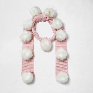 Girls pink knit pom pom scarf