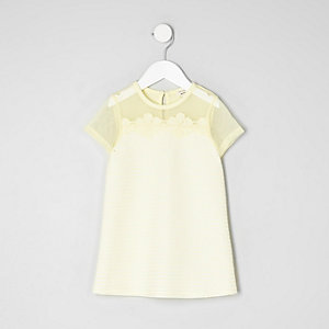 Mini girls mesh flower applique T-shirt dress