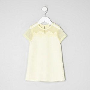 Mini - Mesh T-shirtjurk met bloemenapplicatie voor meisjes