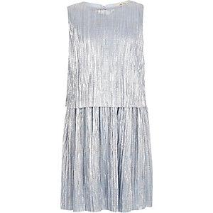 Robe bleue plissée métallisée pour fille