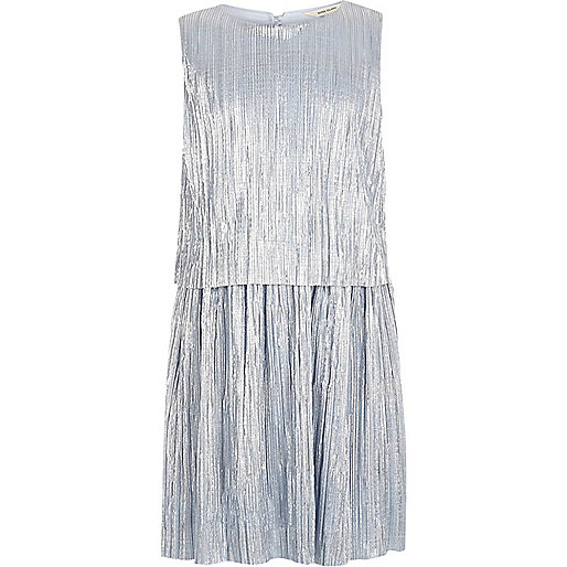 Girls metallic blue pleated dress