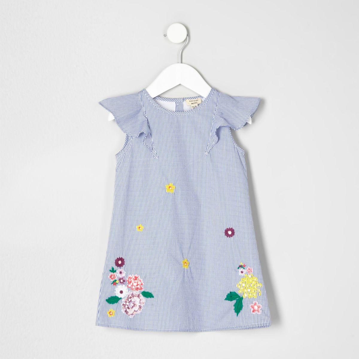 Mini girls blue stripe floral ruffle dress