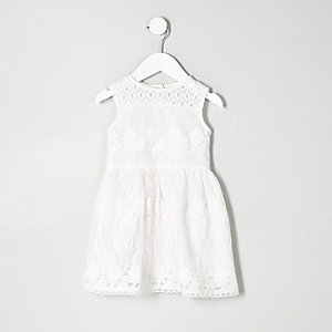 Mini girls white embroidered mesh dress