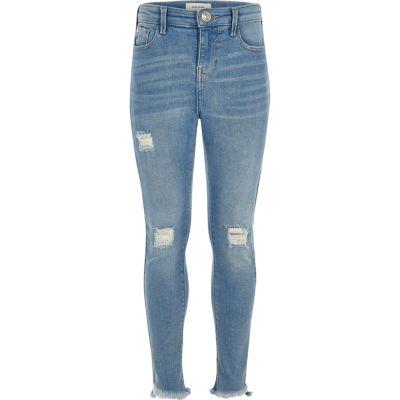 Amelie Blauwe ripped skinny jeans voor meisjes