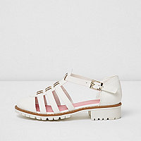 Girls white textured sandals