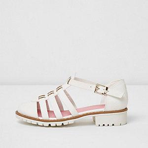 Girls white textured sandals