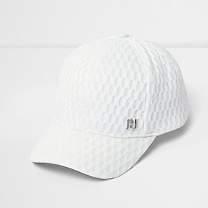 Girls white textured mesh cap