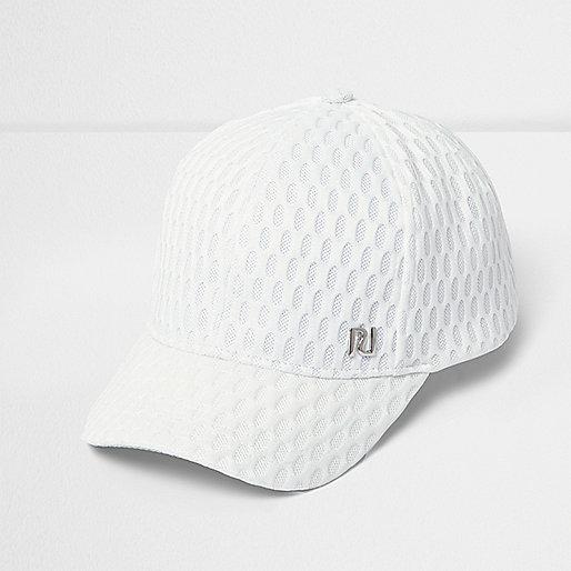 Girls white textured mesh cap