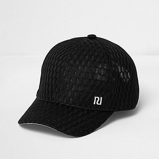 Girls black textured mesh cap
