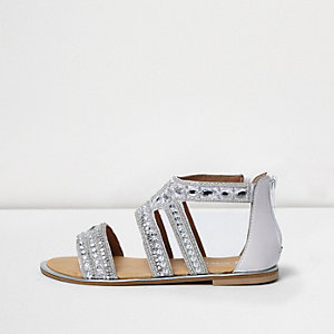 Girls silver rhinestone strappy flat sandals
