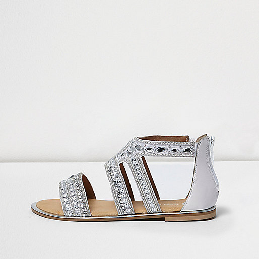 Girls silver diamante strappy flat sandals