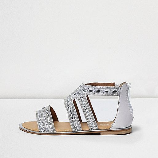 Girls silver rhinestone strappy flat sandals