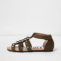 Girls khaki green studded caged sandals